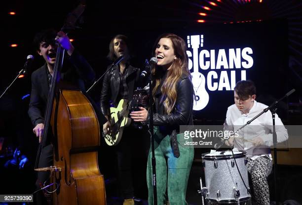Noah Sierota Sydney Sierota and Graham Sierota of Echosmith perform during the Musicians On Call 5th Anniversary Celebration in Los Angeles...