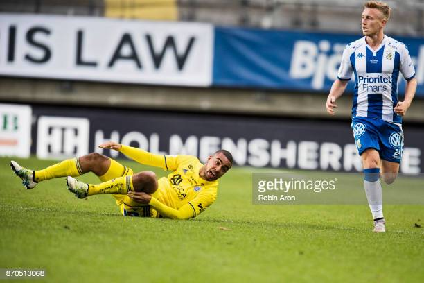 Noah Sonko Sundberg of GIF Sundsvall dejected after contact with Sebastian Olsson of IFK Goteborg during the Allsvenskan match between IFK Goteborg...