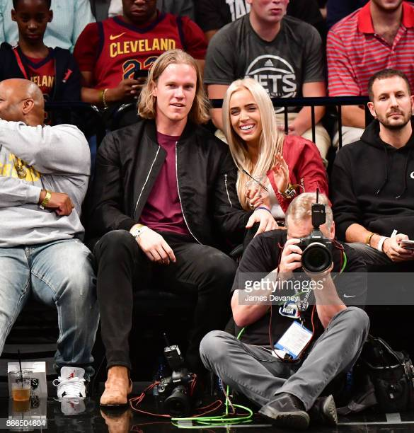 Noah Syndergaard and Alexandra Cooper attend the Cleveland Cavaliers Vs Brooklyn Nets game at Barclays Center on October 25 2017 in New York City