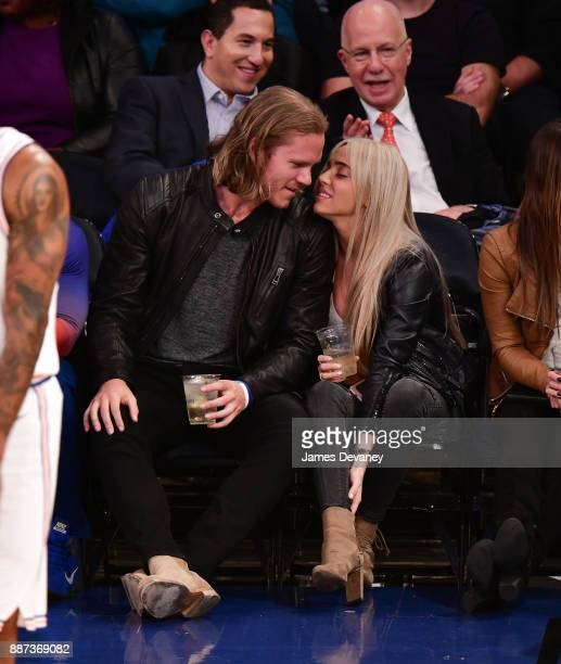 Noah Syndergaard and Alexandra Cooper attends the Memphis Grizzlies Vs New York Knicks game at Madison Square Garden on December 6 2017 in New York...