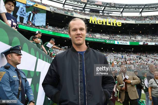 Noah Syndergaard attends the New England Patriots at New York Jets game at MetLife Stadium on October 15 2017 in East Rutherford New Jersey