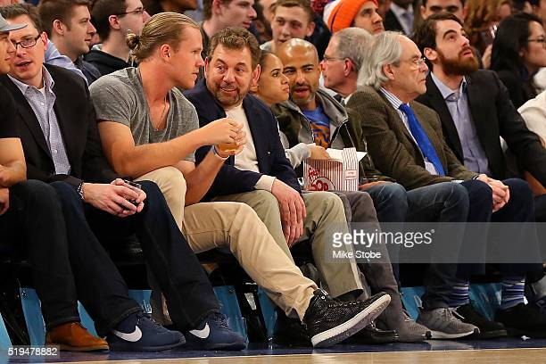 Noah Syndergaard of the New York Mets and Executive Chairman The Madison Square Garden Company NBA Governor James L Dolan attend the game between the...