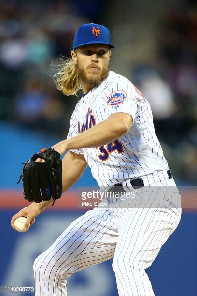 Noah Syndergaard of the New York Mets in action against the Milwaukee Brewersat Citi Field on April 27 2019 in New York City Milwaukee Brewers...
