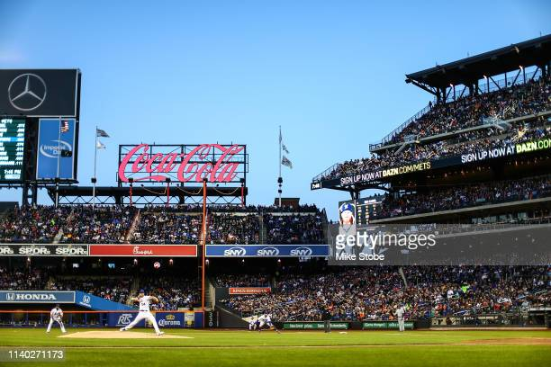 Noah Syndergaard of the New York Mets in action against the Milwaukee Brewersat Citi Field on April 27, 2019 in New York City. Milwaukee Brewers...