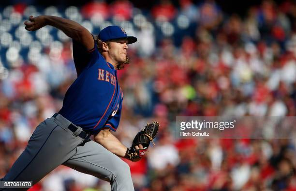 Noah Syndergaard of the New York Mets in action against the Philadelphia Phillies during a game at Citizens Bank Park on October 1 2017 in...