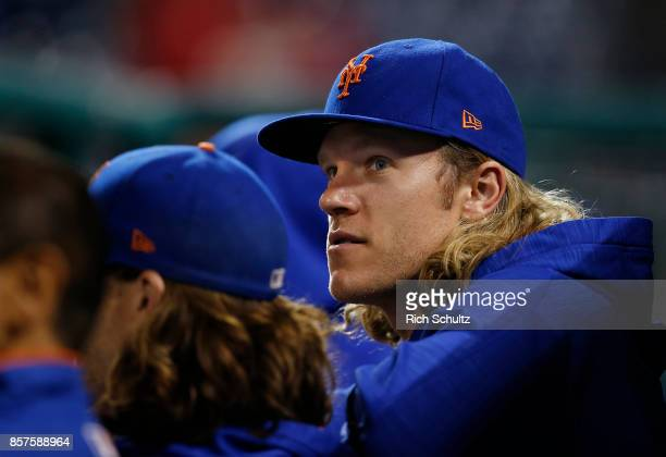 Noah Syndergaard of the New York Mets in action against the Philadelphia Phillies during a game at Citizens Bank Park on September 30 2017 in...