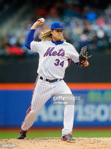Noah Syndergaard of the New York Mets in action against the San Francisco Giants at Citi Field on May 1 2016 in the Flushing neighborhood of the...