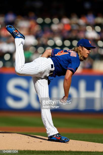 Noah Syndergaard of the New York Mets pitches during the first inning against the Miami Marlins at Citi Field on September 30 2018 in the Flushing...