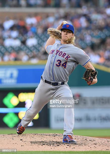 Noah Syndergaard of the New York Mets pitches during the game against the Detroit Tigers at Comerica Park on August 5 2016 in Detroit Michigan The...