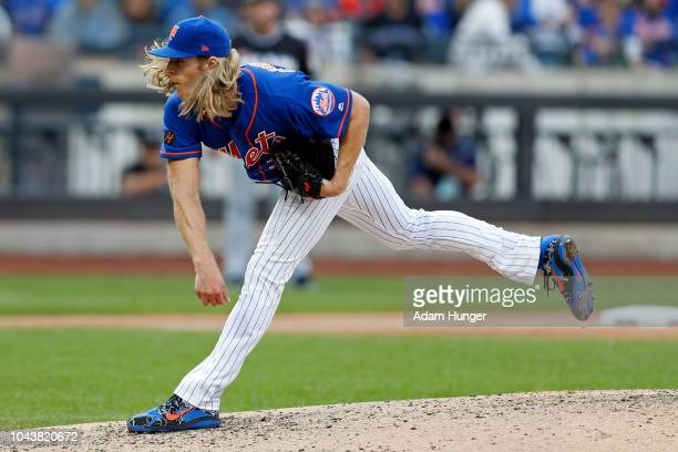 Noah Syndergaard of the New York Mets pitches during the ninth inning against the Miami Marlins at Citi Field on September 30 2018 in the Flushing...