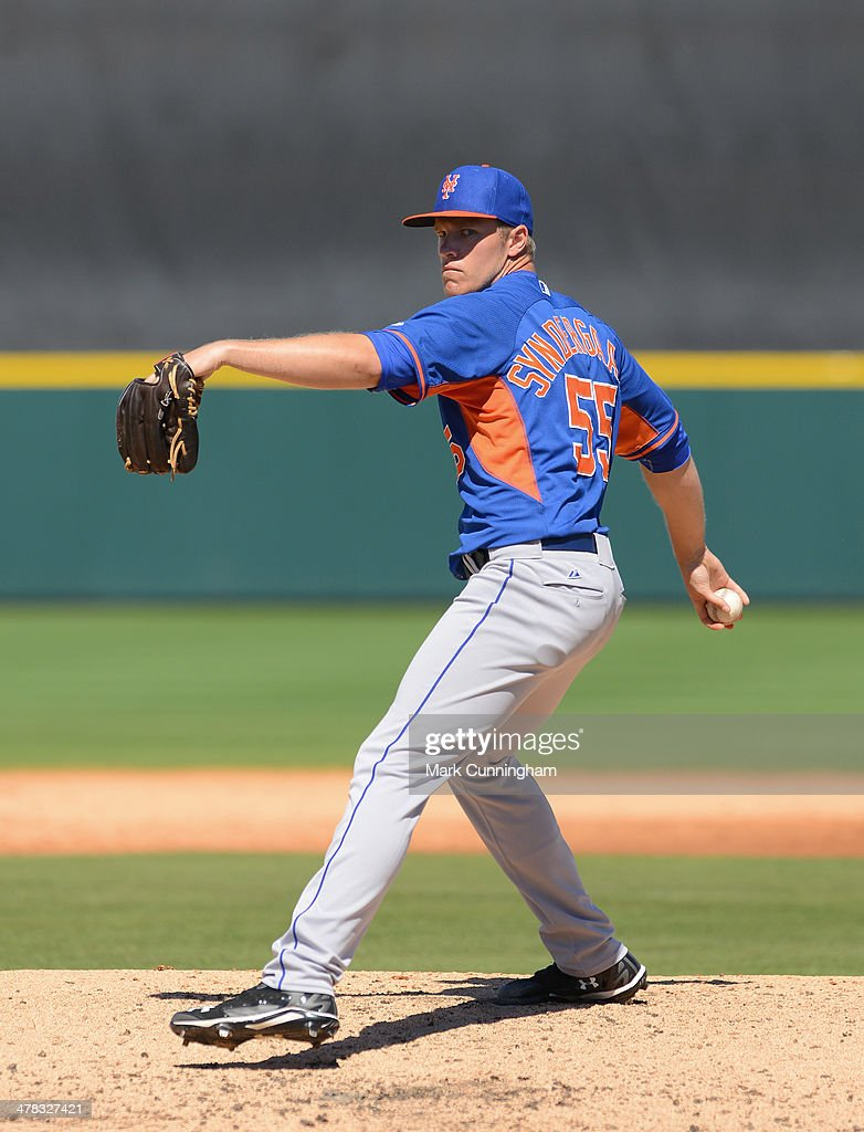 Noah Syndergaard #55 of the New York Mets pitches during the spring training game against the Detroit Tigers at Joker Marchant Stadium on March 8, 2014 in Lakeland, Florida. The Mets defeated the Tigers 3-2.