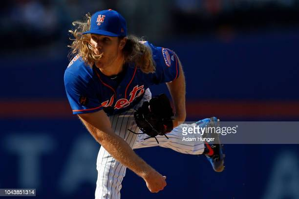 Noah Syndergaard of the New York Mets pitches during the third inning against the Miami Marlins at Citi Field on September 30 2018 in the Flushing...