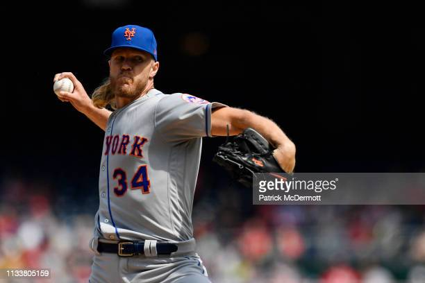 Noah Syndergaard of the New York Mets pitches in the first inning against the Washington Nationals at Nationals Park on March 30 2019 in Washington DC