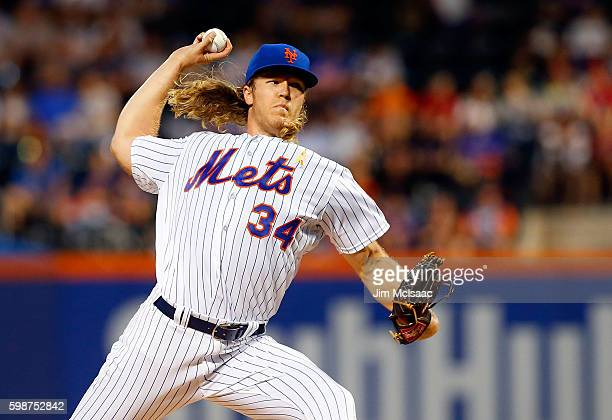 Noah Syndergaard of the New York Mets pitches in the first inning against the Washington Nationals at Citi Field on September 2 2016 in the Flushing...