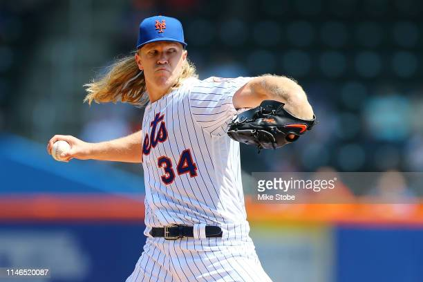 Noah Syndergaard of the New York Mets pitches in the second inning against the Cincinnati Reds at Citi Field on May 02 2019 in the Queens borough of...