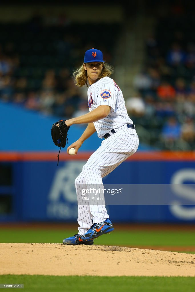 Noah Syndergaard #34 of the New York Mets pitches in the second inning against the Atlanta Braves at Citi Field on May 1, 2018 in the Flushing neighborhood of the Queens borough of New York City. Atlanta Braves defeated the New York Mets 3-2.