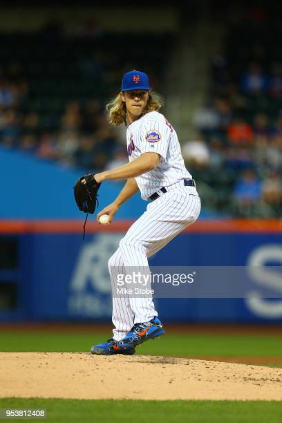 Noah Syndergaard of the New York Mets pitches in the second inning against the Atlanta Braves at Citi Field on May 1 2018 in the Flushing...