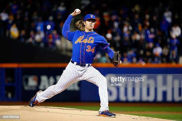 Noah Syndergaard of the New York Mets throws a pitch in the first inning against the Chicago Cubs during game two of the 2015 MLB National League...