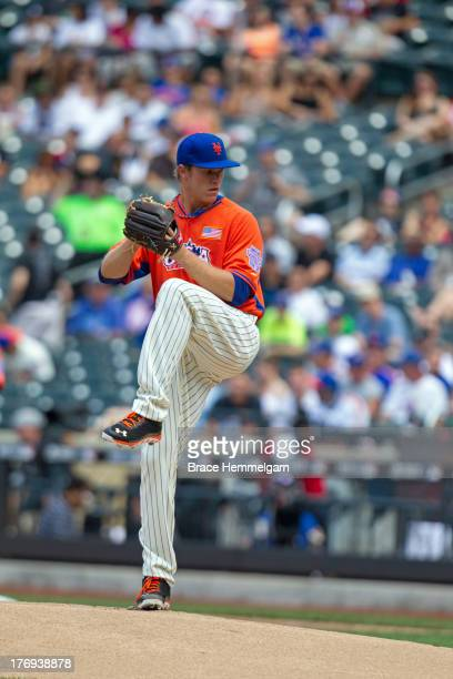 Noah Syndergaard of the United States pitches during the game on July 14 2013 at Citi Field in the Flushing neighborhood of the Queens borough of New...