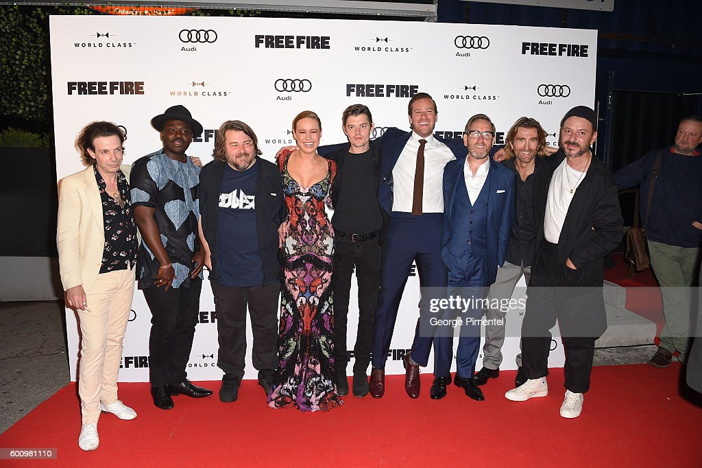 Noah Taylor, Babou Ceesay, Ben Wheatley, Brie Larson, Sam Riley, Armand Douglas Hammer, Michael Smiley, Sharlto Copley and Enzo Cilenti attend the Pre-Screening Event For 'Free Fire' Co-Hosted By Audi During The Toronto International Film Festival at Early Mercy on September 8, 2016 in Toronto, Canada.