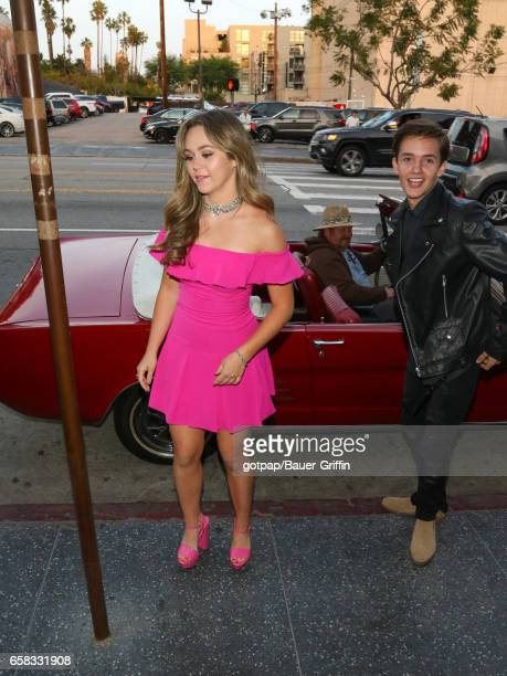 Noah Urrea and Brec Bassinger are seen on March 26 2017 in Los Angeles California
