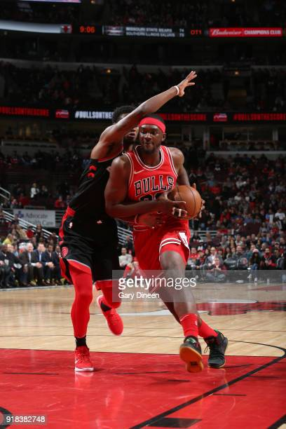 Noah Vonleh of the Chicago Bulls drives to the basket against the Toronto Raptors on February 14 2018 at the United Center in Chicago Illinois NOTE...