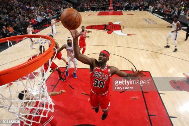 Noah Vonleh of the Chicago Bulls dunks against the Philadelphia 76ers on February 22 2018 at the United Center in Chicago Illinois NOTE TO USER User...