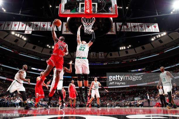 Noah Vonleh of the Chicago Bulls goes to the basket against the Boston Celtics on March 5 2018 at the United Center in Chicago Illinois NOTE TO USER...