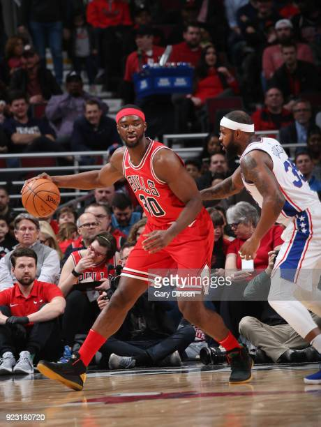 Noah Vonleh of the Chicago Bulls handles the ball against the Philadelphia 76ers on February 22 2018 at the United Center in Chicago Illinois NOTE TO...