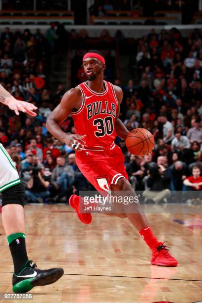 Noah Vonleh of the Chicago Bulls handles the ball against the Boston Celtics on March 5 2018 at the United Center in Chicago Illinois NOTE TO USER...