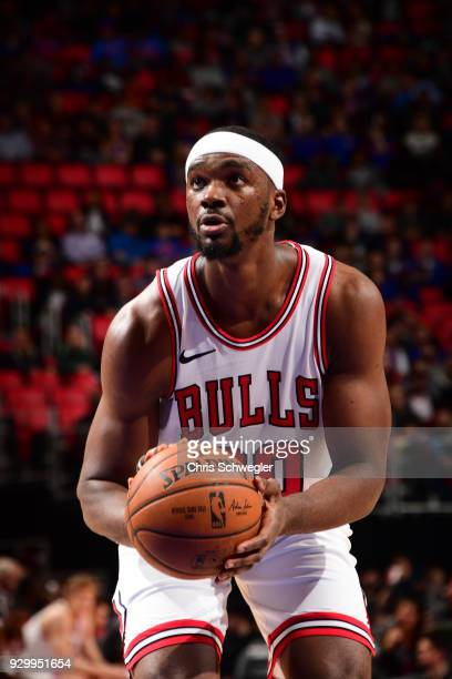 Noah Vonleh of the Chicago Bulls handles the ball against the Detroit Pistons on March 9 2018 at Little Caesars Arena in Detroit Michigan NOTE TO...