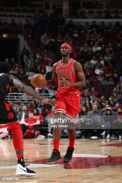 Noah Vonleh of the Chicago Bulls handles the ball against the Toronto Raptors on February 14 2018 at the United Center in Chicago Illinois NOTE TO...