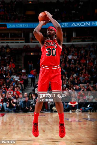 Noah Vonleh of the Chicago Bulls shoots the ball against the Boston Celtics on March 5 2018 at the United Center in Chicago Illinois NOTE TO USER...