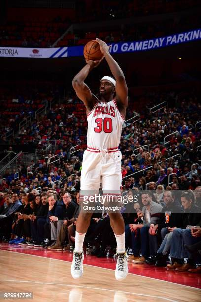 Noah Vonleh of the Chicago Bulls shoots the ball against the Detroit Pistons on March 9 2018 at Little Caesars Arena in Detroit Michigan NOTE TO USER...
