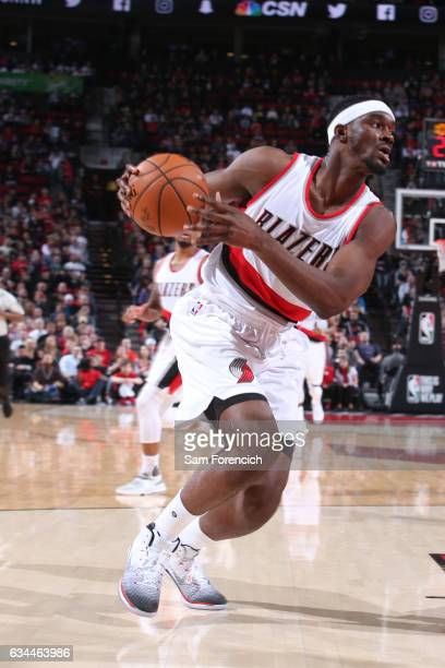 Noah Vonleh of the Portland Trail Blazers drives to the basket against the Boston Celtics on February 9 2017 at the Moda Center in Portland Oregon...