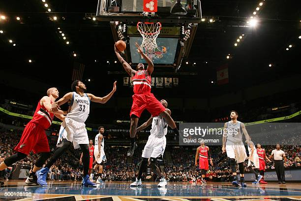 Noah Vonleh of the Portland Trail Blazers goes for the layup against the Minnesota Timberwolves during the game on December 5 2015 at Target Center...