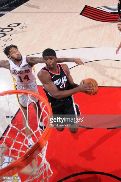 Noah Vonleh of the Portland Trail Blazers goes to the basket against the Los Angeles Lakers on November 2 2017 at the Moda Center in Portland Oregon...