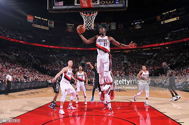 Noah Vonleh of the Portland Trail Blazers grabs the rebound against the Minnesota Timberwolves on January 31 2016 at the Moda Center in Portland...