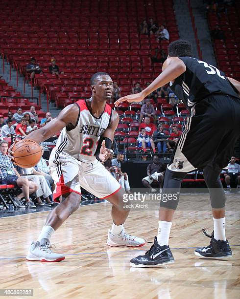 Noah Vonleh of the Portland Trail Blazers handles the ball against the Minnesota Timberwolves on July 15 2015 at the Thomas Mack Center in Las Vegas...