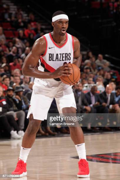 Noah Vonleh of the Portland Trail Blazers handles the ball against the Memphis Grizzlies on November 7 2017 at the Moda Center in Portland Oregon...