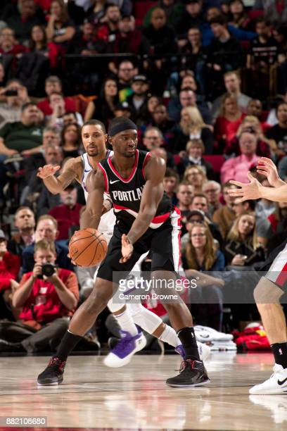 Noah Vonleh of the Portland Trail Blazers handles the ball against the Sacramento Kings on November 18 2017 at the Moda Center Arena in Portland...