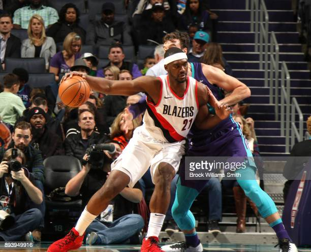 Noah Vonleh of the Portland Trail Blazers handles the ball against the Charlotte Hornets on December 16 2017 at Spectrum Center in Charlotte North...