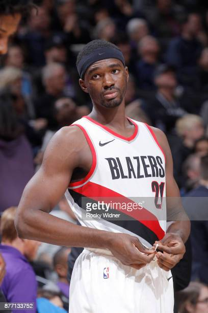 Noah Vonleh of the Portland Trail Blazers looks on during the game against the Sacramento Kings on November 17 2017 at Golden 1 Center in Sacramento...