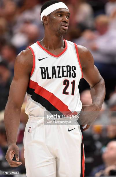 Noah Vonleh of the Portland Trail Blazers looks on during their game against the Utah Jazz at Vivint Smart Home Arena on November 01 2017 in Salt...