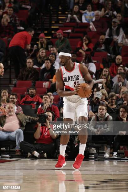 Noah Vonleh of the Portland Trail Blazers moves to pass the ball against the Denver Nuggets on December 22 2017 at the Moda Center in Portland Oregon...