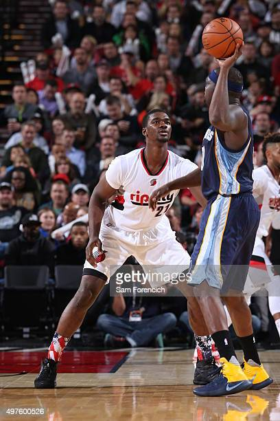 Noah Vonleh of the Portland Trail Blazers plays defense against the Memphis Grizzlies on November 5 2015 at the Moda Center Arena in Portland Oregon...