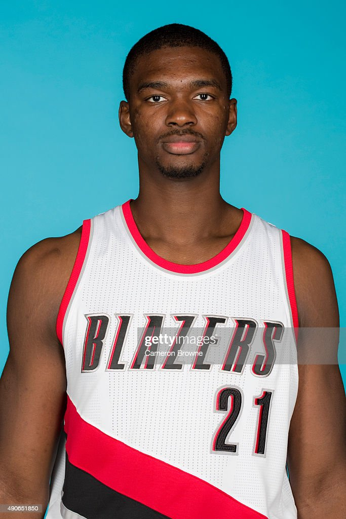 Noah Vonleh #21 of the Portland Trail Blazers poses for a head shot during media day on September 28, 2015 at the MODA Center Arena in Portland, Oregon.