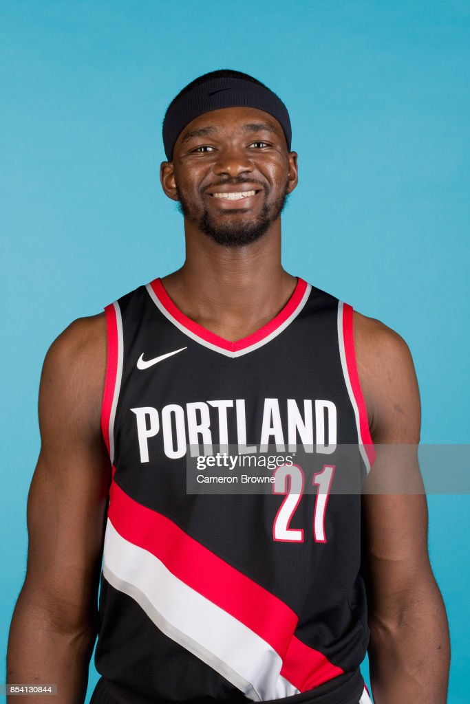 Noah Vonleh #21 of the Portland Trail Blazers poses for a head shot during media day on September 25, 2017 at the Moda Center Arena in Portland, Oregon.