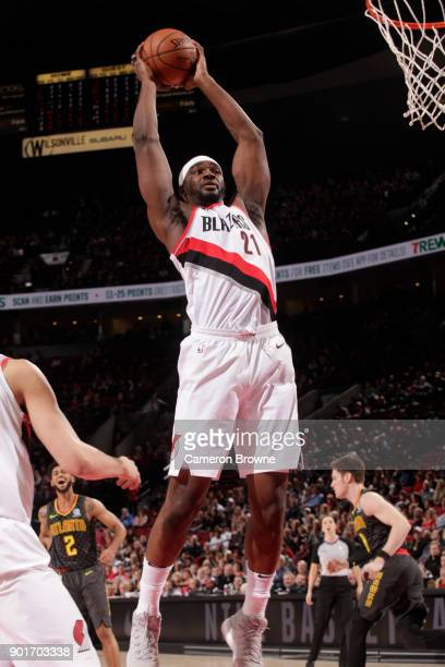 Noah Vonleh of the Portland Trail Blazers recovers a rebound during the game against the Atlanta Hawks on January 5 2018 at the Moda Center in...