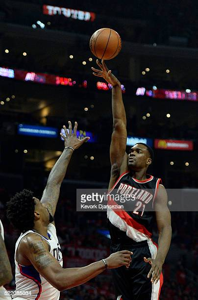 Noah Vonleh of the Portland Trail Blazers shoots over DeAndre Jordan of the Los Angeles Clippers during the first half in Game One of the Western...